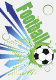 Abstract football poster with blue arrows Stock Photos