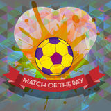 Abstract football and soccer infographic, match of the day text, a playing ball and heart Stock Photos