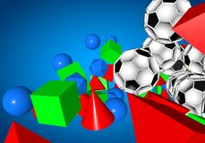 Abstract footballl soccer 3d. Shapes background Royalty Free Stock Photography