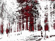 Abstract forest. Abstract black red white forest horror vector illustration