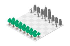 Abstract Forest and Building chess 3D isometric virtual, World E. Nvironment Day concept design illustration isolated on white background Stock Illustration
