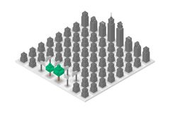 Abstract Forest and Building chess 3D isometric virtual, World Environment Day concept design. Illustration isolated on white background Royalty Free Stock Images