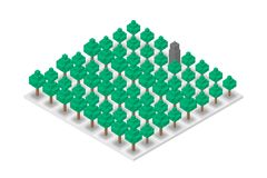 Abstract Forest and Building chess 3D isometric virtual, World Environment Day concept design. Illustration isolated on white background Royalty Free Stock Image
