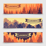 Abstract forest horizontal banners template - banners with trees design stock illustration