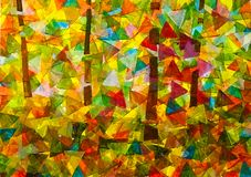 Abstract forest of multicolored geometric shapes royalty free illustration