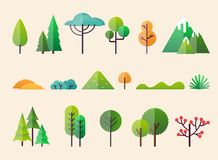 Abstract forest plants and trees. Forest landscapes.  royalty free illustration