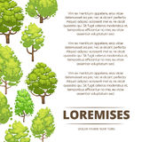 Abstract forest poster design - eco poster background with cartoon trees Royalty Free Stock Photo