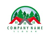 Forest real estate logo on a white background. Abstract forest real estate  logo design on a white  background Royalty Free Stock Photos