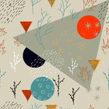 Abstract forest seamless pattern. Bright color background with hand drawn elements, geometric shapes. Great for textile,  wrapping paper Royalty Free Stock Images