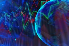 Abstract forex background with globe. And chart bars. Trade, global business and finance concept. 3D Rendering Royalty Free Stock Photography