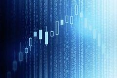 Investment and computing concept. Abstract forex chart background with binary code. Investment and computing concept. 3D Rendering Royalty Free Stock Photography