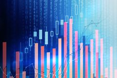 Trade and computing concept. Abstract forex chart background with binary code. Trade and computing concept. 3D Rendering Royalty Free Stock Image