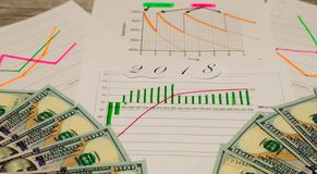 Abstract forex chart on background. Financial growth concept. . Double exposure.  royalty free stock image