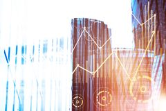 Forex chart in city. Abstract forex chart on city background. Finance concept. Double exposure Royalty Free Stock Photos
