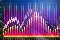 Abstract forex chart texture. Abstract glowing colorful forex chart texture. Investment and trade concept. 3D Rendering Stock Images
