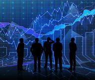 An abstract Forex graph room in blue with people siluet. Close up Stock Photography