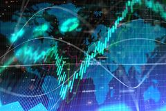 Abstract forex texture. With map and lines. Investment, trade and finance concept. 3D Rendernig royalty free stock image