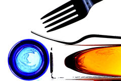 Abstract Fork. And glassware background design Stock Photography