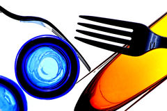 Abstract Fork. And glassware background design Stock Photos