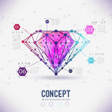 Abstract form compounds of the composition and facets of the diamond Royalty Free Stock Photos