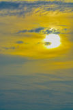 The abstract formation and texture of the clouds over and around the sun. Above the Gulf of Mexico in florida Royalty Free Stock Image