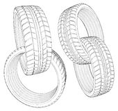 Abstract Four Car Wheel Tire In Chain Vector 12 Stock Images