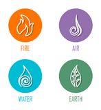Abstract Four Elements Fire, Air, Water, Earth Line Symbols Placed On Circles. Vector illustration of abstract line symbols for the fire, wind, water, and earth stock illustration