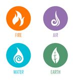 Abstract Four Elements Fire, Air, Water, Earth Symbols Placed On Circles. Vector illustration of abstract symbols for the fire, wind, water, and earth elements stock illustration