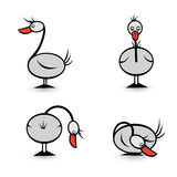 Abstract Four geese in different positions Stock Photos