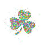 Abstract four leaf clover St Patricks Day. Abstract four leaf clover, St Patrick s Day splash multicolored circles. Vector illustration Stock Images