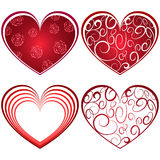 Abstract four red heart shapes Royalty Free Stock Photos