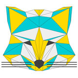 Abstract fox  on white background. Polygonal triangle geometric illustration Stock Photo