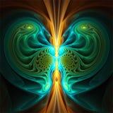 Abstract fractal art symmetric mysterious yellow cyan green shape stock illustration