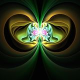 Abstract fractal art yellow and green fantasy symmetry fractals vector illustration