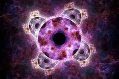 Abstract fractal background. Abstract fractal blackhole like shapes on black background Royalty Free Stock Photo