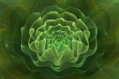 Abstract fractal background of colorful waves. On green background Stock Images