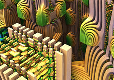 Abstract fractal background. Fractal 3D background, the city of the future Royalty Free Stock Photos