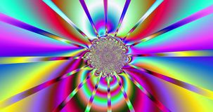 Abstract fractal background with a detailed swirling interchanging pattern and central core in various bright vivid colors