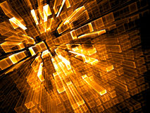 Abstract fractal background - digitally generated image. Abstract fractal background - computer-generated 3d illustration. Digital art: glowing gold bars, rows Stock Photo