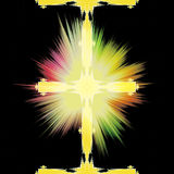 Abstract fractal background with gold glowing cross Stock Image