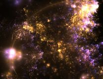 Abstract fractal background with hexagonal texture. And lens flare royalty free stock photography