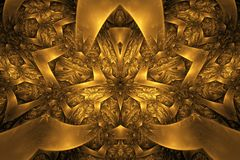 Abstract fractal background. Highly detailed background in orange and gold tones with elements of spirals, lines and patterns. For Stock Image
