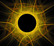 Abstract fractal background with sun eclipse or black hole. Texture Stock Photos