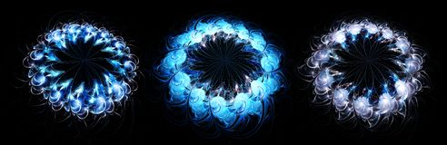 Abstract fractal blue flowers pattern isolated on black backgrou royalty free illustration