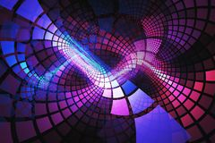 Abstract fractal with blue and pink tiles twisting around Royalty Free Stock Photo