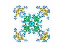 Abstract fractal blue and yellow pattern. On a white background vector illustration