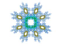 Abstract fractal blue and yellow pattern. On a white background stock illustration