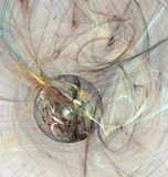 Abstract fractal brown disc with a chaotic curves Royalty Free Stock Image