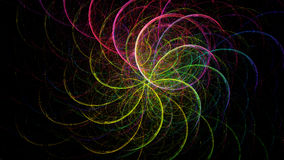 Abstract fractal with curved lines shaping a flowe. R, in neon colors on black background stock illustration