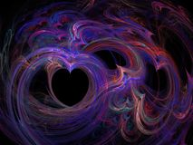 Abstract fractal curves of heart purple lines Stock Image